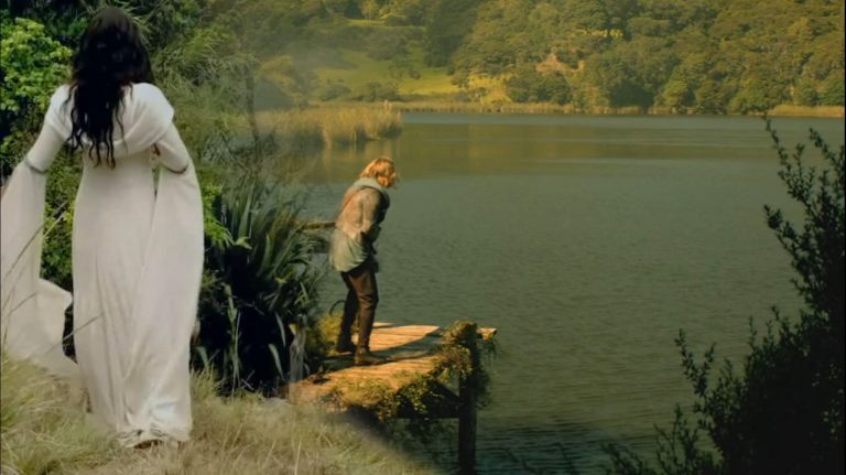 Kahlan from Legend of the Seeker and Wil from The Shannara Chronicles by the lake.