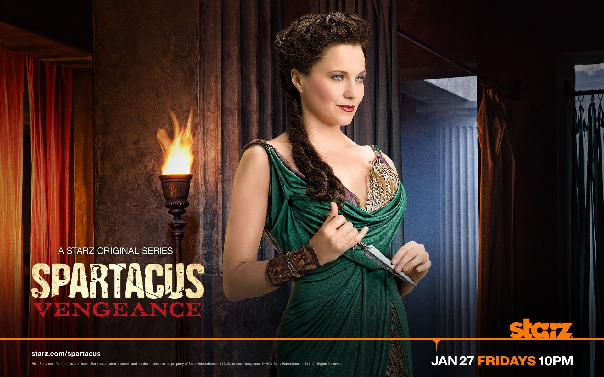 Lucy Lawless as Lucretia in Spartacus: Vengeance